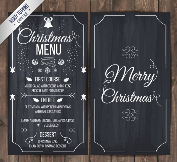 Christmas Menu on Blackboard Free