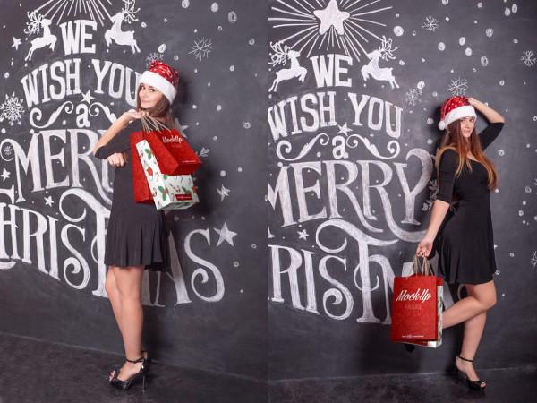 Christmas Shopping Bags Mockups Free