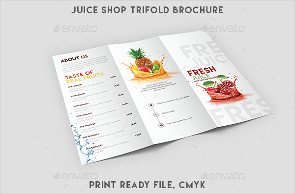 Clean Juice Shop Menu Template
