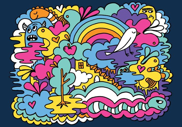 Colorful Abstract Doodle Vector Background