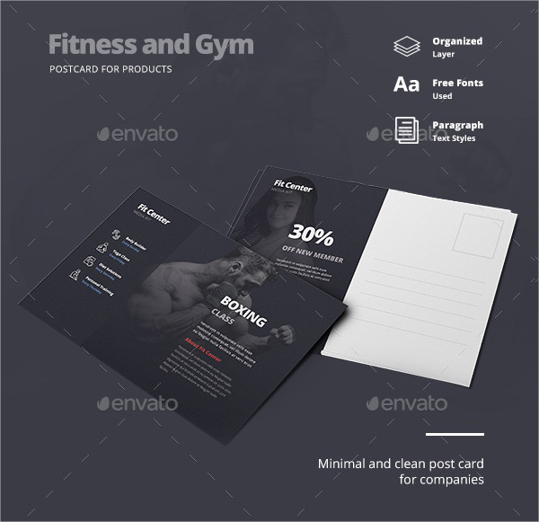 Minimal Fitness & Gym Postcard Template