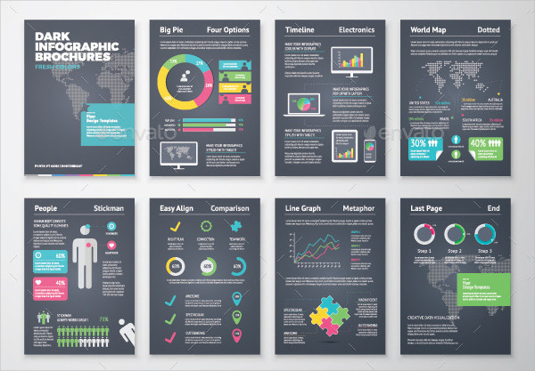 Dark Infographic Brochure Vector Elements Kit