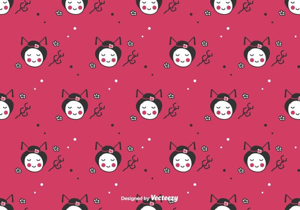 Doodle Geisha Vector Background Free