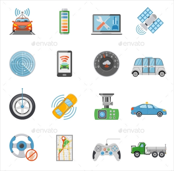 Driverless Car Autonomous Vehicle Icon Collection