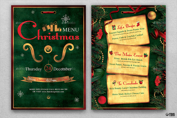 35 christmas menu templates free premium download