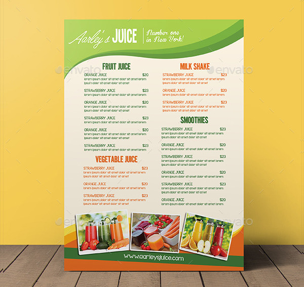 Editable Fruit Juice Menu Flyer Template