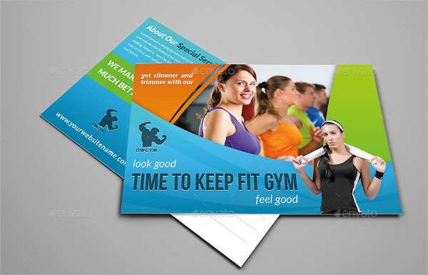Fitness Gym Time Postcard Template