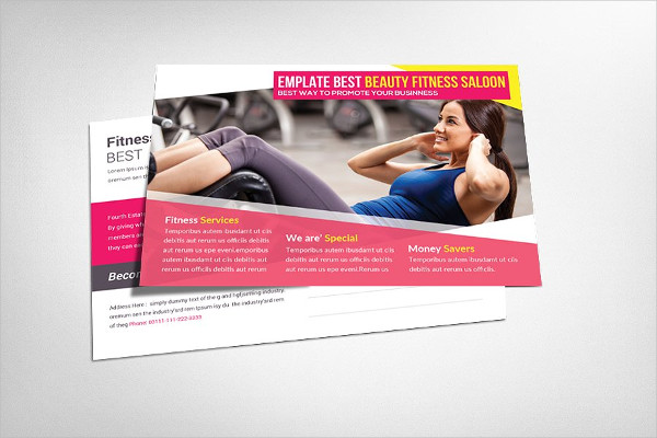 Perfect Fitness Salon Postcard Template