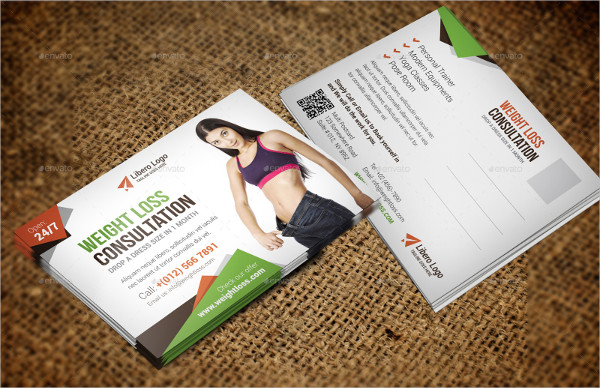 Fitness Weight Loss Postcard InDesign Template