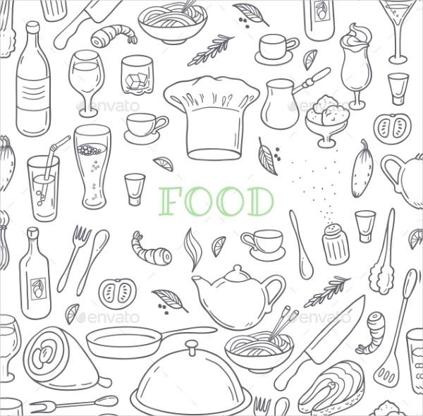 Food And Drink Outline Doodle Background