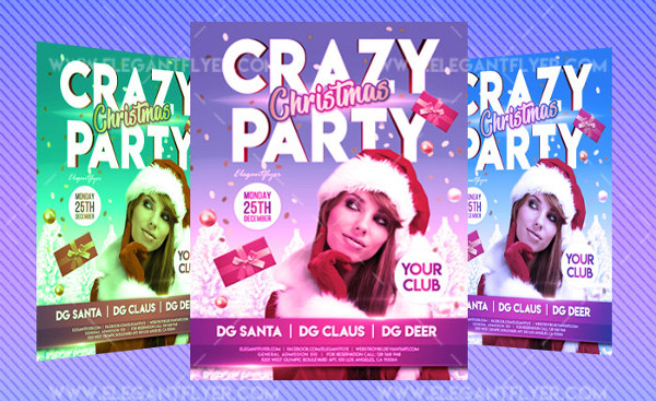 Free Christmas Crazy Party Flyer PSD