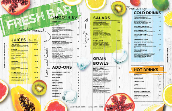 Fresh Juice Drinks Menu Template