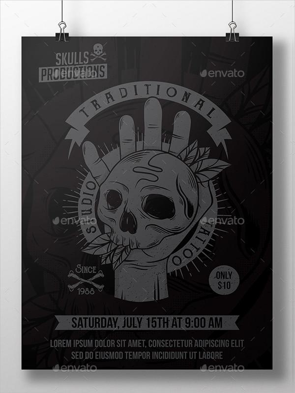 Skull Hand Tattoo Flyer Template