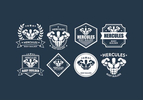 Hercules Fitness Logos Free Vector