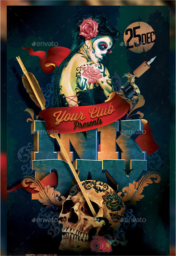 Clean Tattoo Party Flyer Template