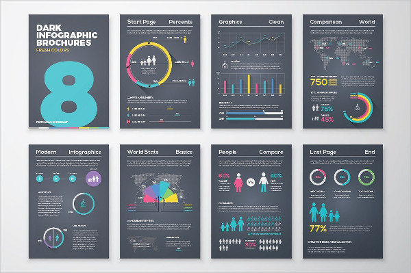 Infographic Brochures in Dark Version
