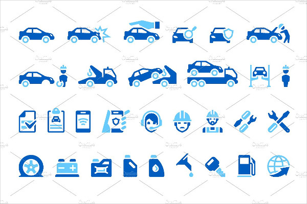 Clean Car Insurance Icons