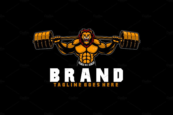 Lion Fitness Logo Template