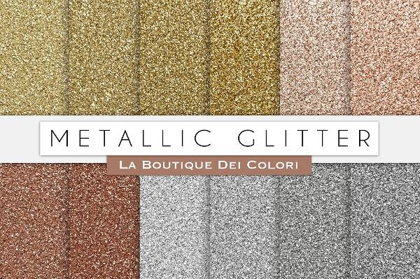 Metallic Glitter Texture Digital Paper