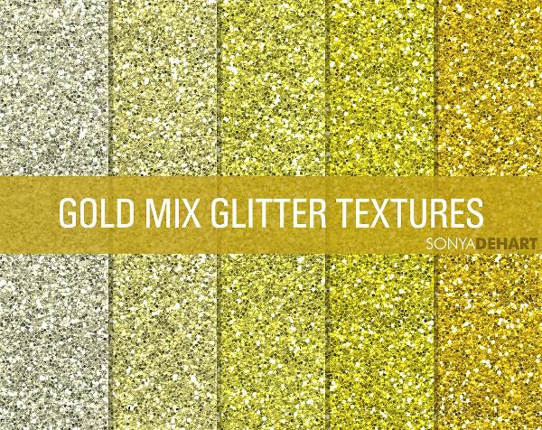 Mixed Gold Glitter Textures