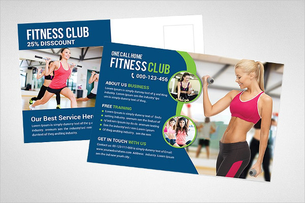 Modern Fitness Club Postcard Template