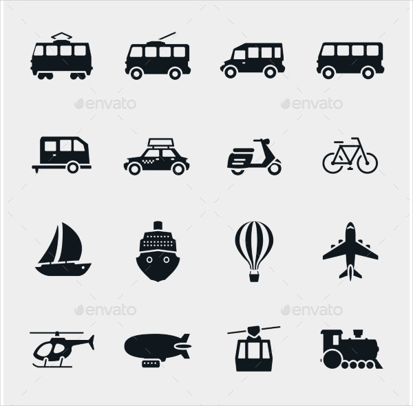 Monochrome Transport and Vehicle Icons