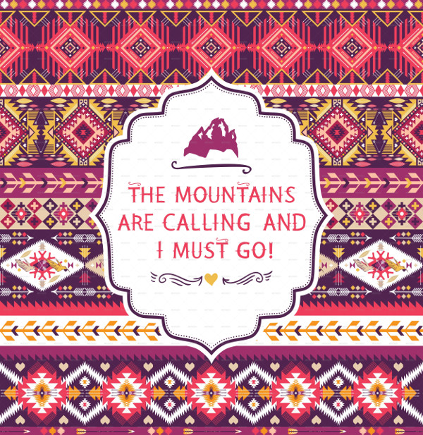 Colorful Tribal Pattern with Quotes