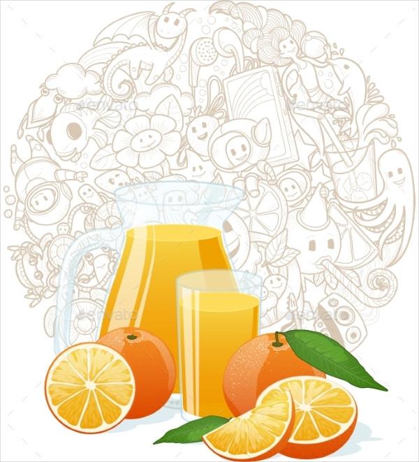 Orange Fresh With Doodle Background
