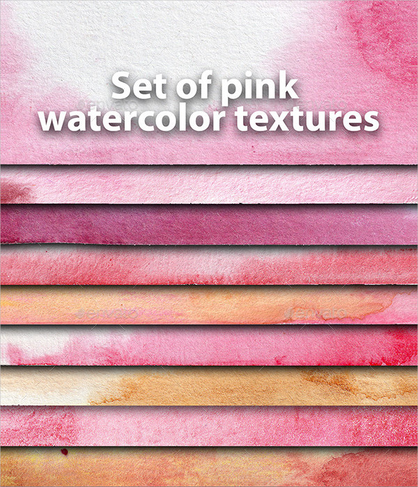 Set of Pink Watercolor Textures
