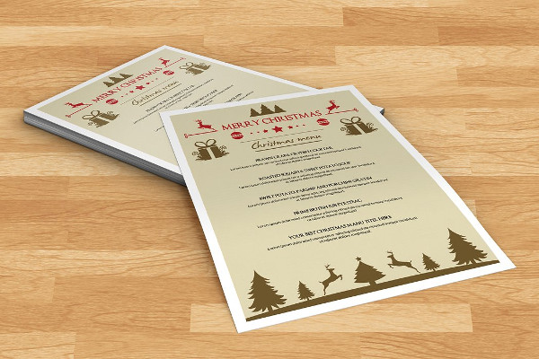 Printable Christmas Party Menu Template