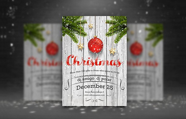 Retro Christmas Party Poster & Flyer