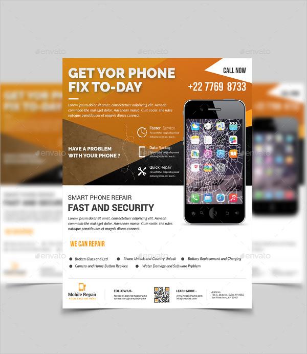Smartphone Battery Repair Flyer Template