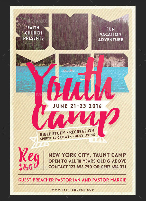 Clean Summer Youth Flyer Template Template