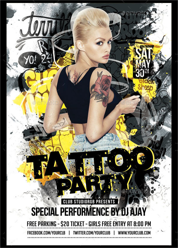Unique Tattoo Girl Flyer Template