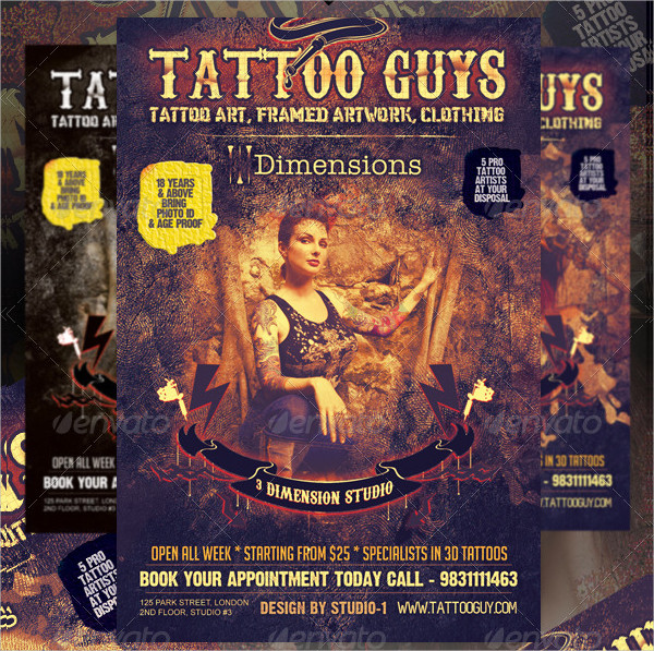 Tattoo Artist & Tattoo Parlour Flyer Template