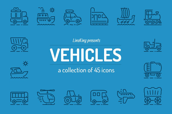 Awesome Vehicles Line Icons Set