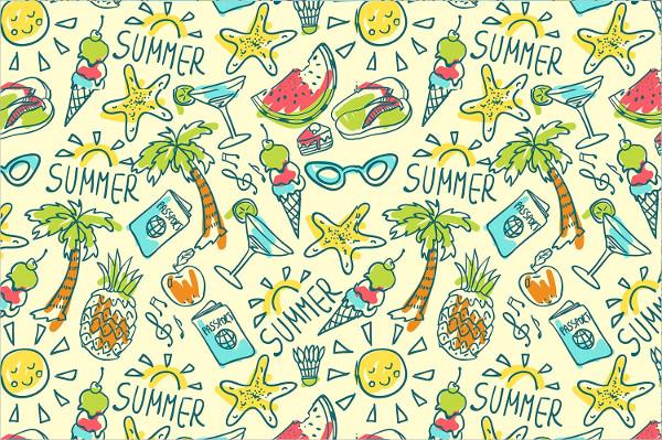 Summer Travel Doodles Background