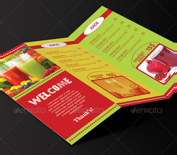 Trifold Drinks Menu Design