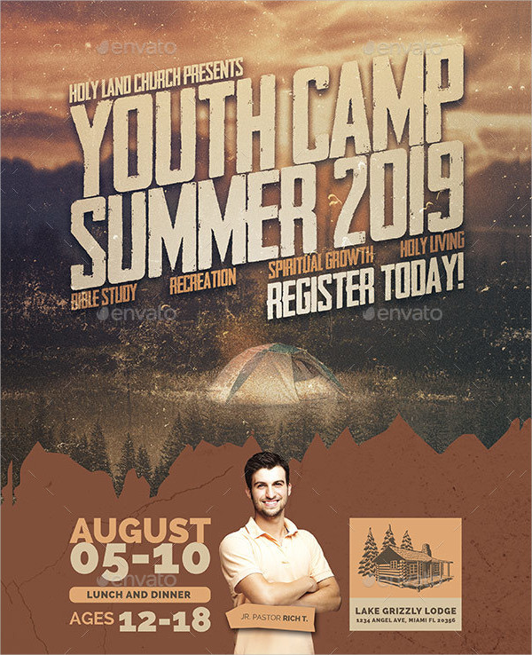 Rustic Youth Camp Flyer Template
