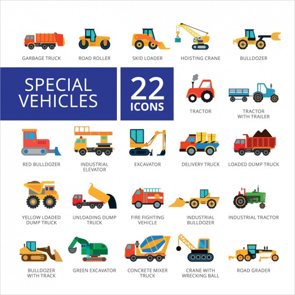 Vehicle Icon Collection Free Vector