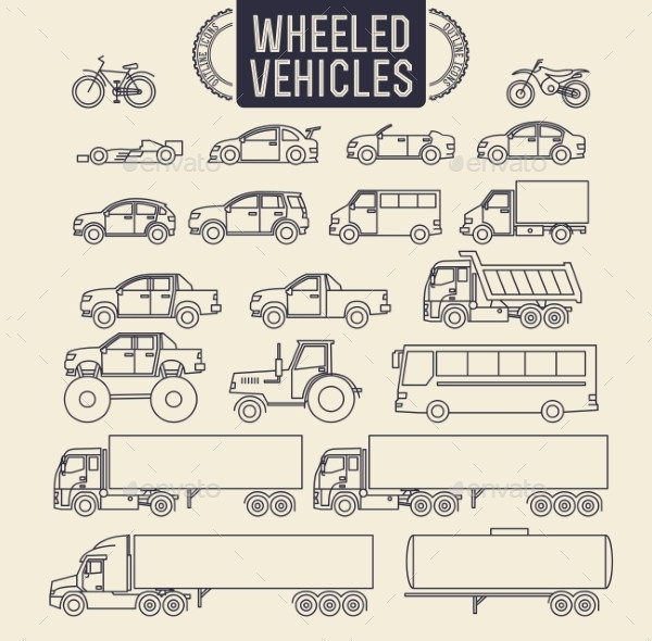 Wheeled Vehicles Icon Pack