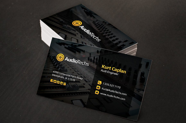 Clean Audio Engineer Business Cards