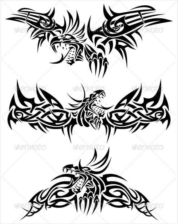 Tribal Tattoo with Mythic Dragons
