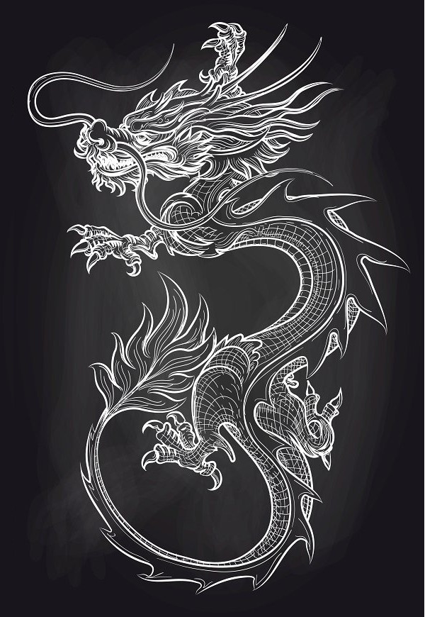 Chinese Dragon Tattoo Design on Chalkboard