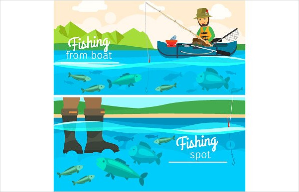 Vector Fishing Banners