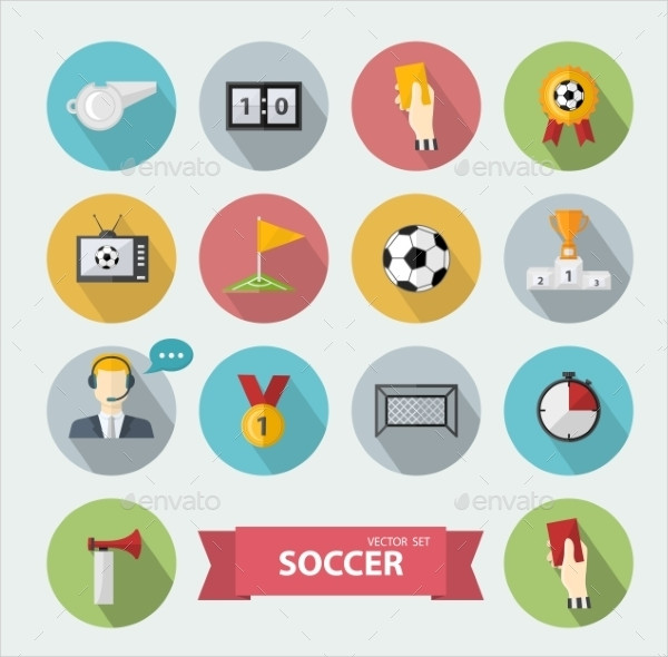 Soccer Icons in Flat Design
