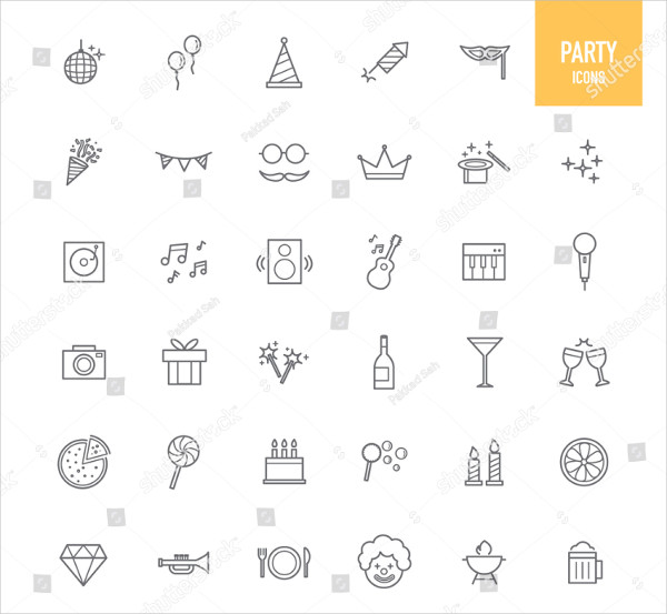 Happy Party Icons Vector Illustration