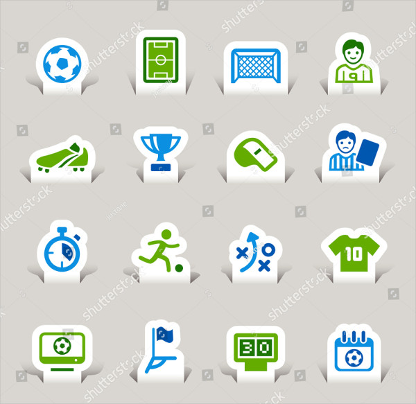 Paper Cut Soccer Icon Pack