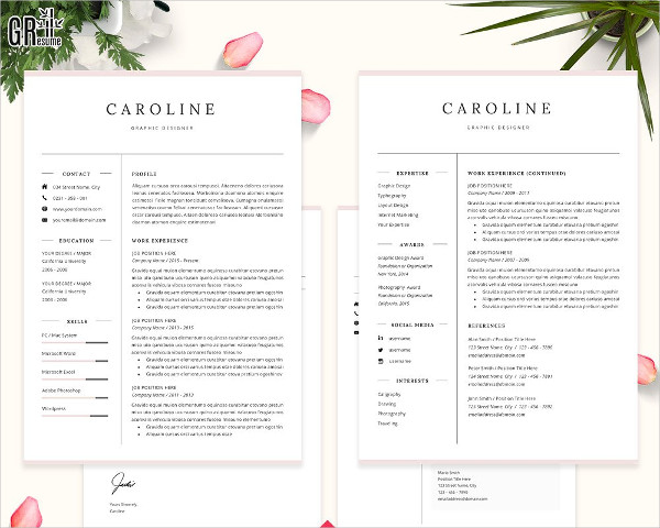 Professional Two Page Resume Template