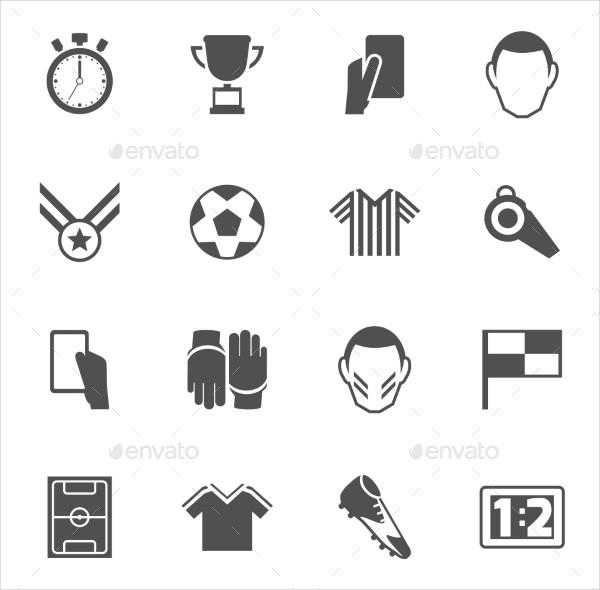 Soccer Icon Set in Black